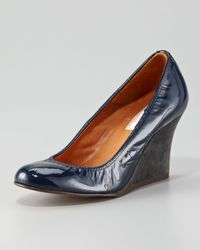 Lanvin | Blue Patent Leather Wedge | Lyst