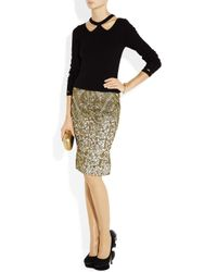 Zac Posen | Gold Metallic Brocade Pencil Skirt | Lyst