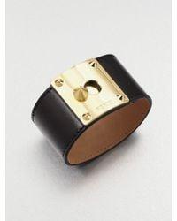 Fendi - Brown Lambskin Leather Cuff Bracelet - Lyst