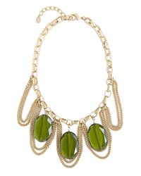Brooks Brothers - Green Stone and Chain Necklace - Lyst