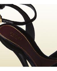 Gucci   Black Rose Opentoe High Heel Velvet Sandal   Lyst