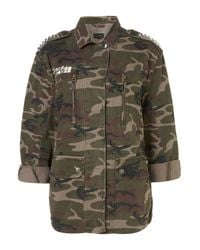 TOPSHOP | Natural Studded Camo Jacket | Lyst