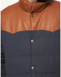 ASOS Brown Quilted Jacket with Leather Look Trim for men