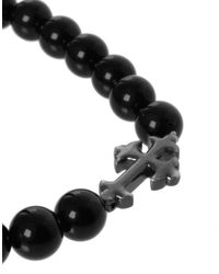 Simon Carter - Black Beaded Cross Bracelet  for Men - Lyst