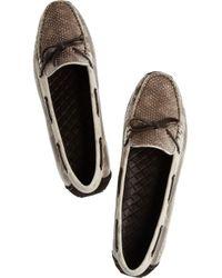 Bottega Veneta | Beige Snake Driving Shoes | Lyst