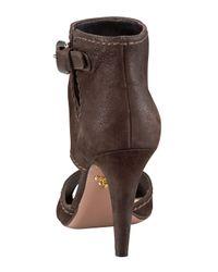 Prada - Brown Cutout Peep Toe Bootie - Lyst