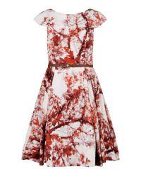 Ted Baker | Orange Barish Printed Full Skirt Dress | Lyst
