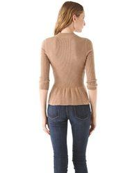 Tory Burch - Brown Madeline Peplum Sweater - Lyst