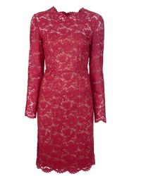 Valentino | Red Scallop Edge Dress | Lyst