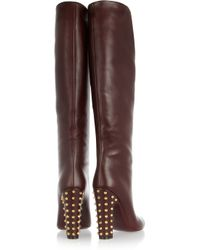 Gucci | Brown Studded Leather Knee Boots | Lyst