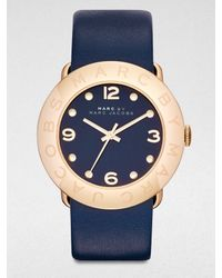 Marc By Marc Jacobs | Blue Gold-Tone Stainless Steel Watch | Lyst