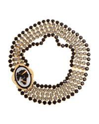 Miu Miu   Metallic Crystal Cameo Necklace   Lyst