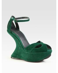 Stuart Weitzman | Green Riseup Suede Ankle Strap Wedge Sandals | Lyst