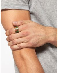 ASOS - Green Aztec Wooden Ring for Men - Lyst