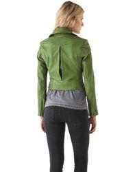 Kelly Wearstler | Green Newton Leather Moto Jacket | Lyst