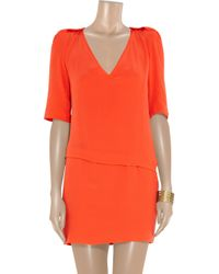 Maje | Orange Herbrides Silk-georgette Dress | Lyst