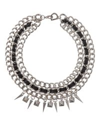 Fallon | Metallic Silver Triple Chain Necklace with Leather Spikes | Lyst