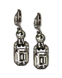 Givenchy - Light Hematite Tone Black Diamond Crystal Drop Earrings - Lyst