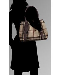 Burberry - Purple Small Smoked Check Tote Bag - Lyst