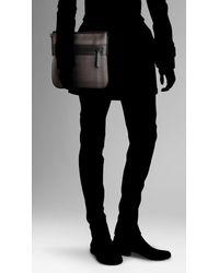 Burberry - Brown Small Check Ultra Slim Crossbody Bag for Men - Lyst