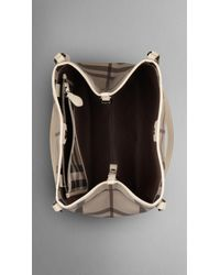 Burberry - Natural Medium Smoked Check Tote - Lyst