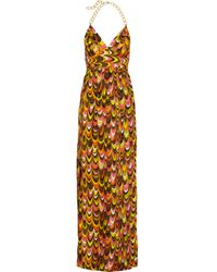 MILLY   Multicolor Leah Chain Halter Maxi Dress   Lyst