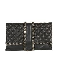 Topshop | Black Leather Quilted Chain Clutch Bag | Lyst