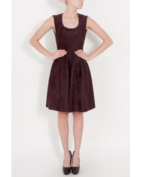 Alaïa | Brown Velours Round Neck Dress | Lyst