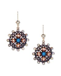 Betsey Johnson | Metallic Gold Tone Medallion Drop Earrings | Lyst
