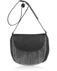 Stella McCartney | Black Chain-fringed Faux Leather Shoulder Bag | Lyst