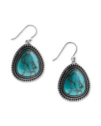 Lucky Brand | Blue Silver Tone Turquoise Drop Earrings | Lyst