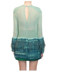 Jo No Fui   Green Viscose Dress with Feather Applications   Lyst