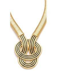 Kenneth Jay Lane - Metallic Enamel Knot Necklace - Lyst