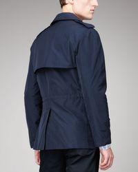 Lanvin | Blue Zip-Detail Pea Coat for Men | Lyst