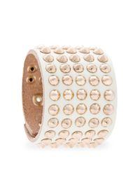 Mango - Natural Spiked Leather Bracelet - Lyst