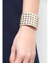 Mango - Natural Spiked Leather Bracelet - Lyst