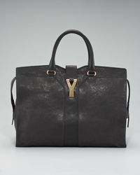 Saint Laurent - Black Cabas Chyc Satchel, Large - Lyst