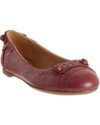 Balenciaga - Red Arena Stud Ballerina Flat - Lyst
