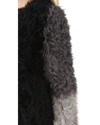 DKNY - Black Colorblock Stretch Shearling Coat - Lyst