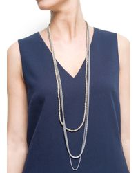Mango - Metallic Beads and Charms Necklace - Lyst