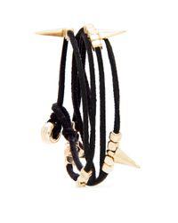 Mango - Black Strappy Spikes Bracelet - Lyst