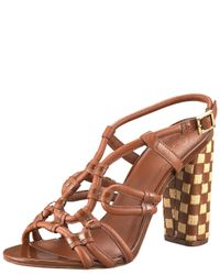 Tory Burch - Brown Layce Woven-heel Sandal - Lyst