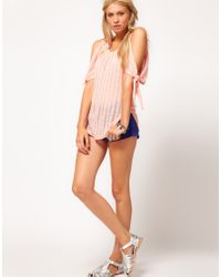 ASOS Collection   Pink Asos Cut and Sew Open Shoulder Top   Lyst