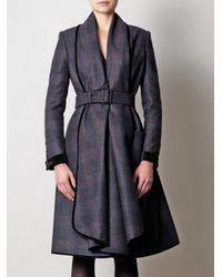 Burberry Prorsum   Gray Check Waterfall Coat   Lyst