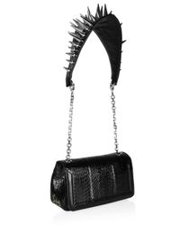 Christian Louboutin | Black Artemis Spiked Water Snake and Leather Shoulder Bag | Lyst