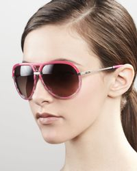 Dior - Pink Croisette Striped Aviator Sunglasses Fuchsia - Lyst