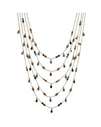 Lauren by Ralph Lauren - Metallic 14k Gold Plated Multibead Fiverow Necklace - Lyst