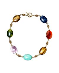 Lauren by Ralph Lauren | Metallic 14k Gold Plated Multicolor Beaded Link Necklace | Lyst