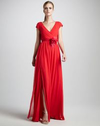 Vera Wang Lavender - Red Crinkled Chiffon Gown - Lyst