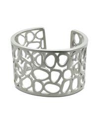 T Tahari | Metallic Silver Tone Essentials Openwork Cuff Bracelet | Lyst
